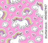 vector seamless pattern of cute ... | Shutterstock .eps vector #490487947