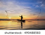 silhouette fisherman on the... | Shutterstock . vector #490488583