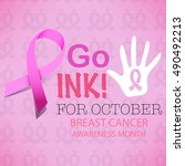 pink ribbon breast cancer... | Shutterstock .eps vector #490492213