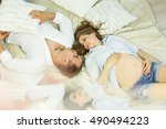young beautiful couple husband... | Shutterstock . vector #490494223