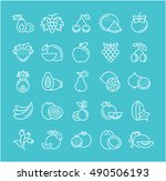 set vector line icons in flat... | Shutterstock .eps vector #490506193