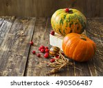 pumpkins  melon and red berries ... | Shutterstock . vector #490506487