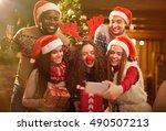 christmas selfie | Shutterstock . vector #490507213