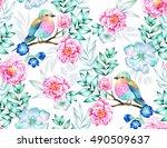 bird pattern. seamless heavenly ... | Shutterstock . vector #490509637
