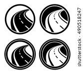 curved asphalt road black... | Shutterstock .eps vector #490518247