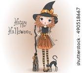 little cute halloween girl...   Shutterstock .eps vector #490518667