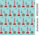 seamless marine pattern... | Shutterstock .eps vector #490521043