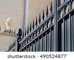 detail on a black metal gate in ... | Shutterstock . vector #490524877