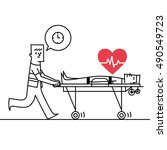 man pushing stretchers icon.... | Shutterstock .eps vector #490549723