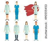 set of doctors in flat style. | Shutterstock .eps vector #490555453