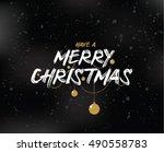 merry christmas text design.... | Shutterstock .eps vector #490558783