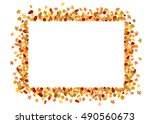 border made of colorful autumn... | Shutterstock .eps vector #490560673