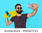 young man with beard making a... | Shutterstock . vector #490567213