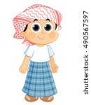 kid wearing an old traditional... | Shutterstock .eps vector #490567597