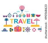 summer travel flat vector icons | Shutterstock .eps vector #490568623
