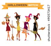 set of beautiful girls witches... | Shutterstock .eps vector #490573417