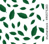 leaves vector seamless pattern. ... | Shutterstock .eps vector #490575283