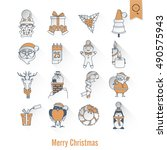 christmas and winter icons...   Shutterstock .eps vector #490575943