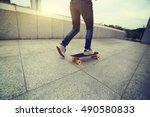 skateboarder skateboarding at... | Shutterstock . vector #490580833
