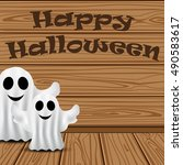 ghost in the background of the... | Shutterstock .eps vector #490583617