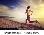 healthy young fitness woman... | Shutterstock . vector #490585093