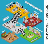 shopping center isometric... | Shutterstock .eps vector #490588687