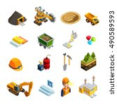 mining isometric icons set with ... | Shutterstock .eps vector #490589593