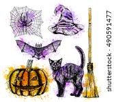 hand drawn halloween set whith...   Shutterstock .eps vector #490591477