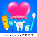 teeth best friends with heart   ... | Shutterstock .eps vector #490599127