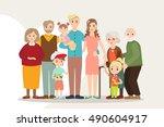 big happy family portrait... | Shutterstock .eps vector #490604917