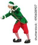 strong green elf on white... | Shutterstock . vector #490608907
