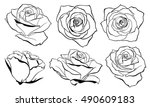 Stock vector vector set of detailed isolated outline rose bud sketches in black color vector illustration for 490609183