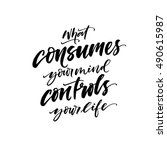 what consumes your mind... | Shutterstock .eps vector #490615987