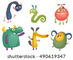 cartoon monsters. vector set of ... | Shutterstock .eps vector #490619347