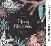 christmas greeting card or... | Shutterstock .eps vector #490621717