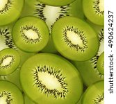 slices of bright juicy kiwi ... | Shutterstock .eps vector #490624237