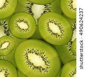slices of bright juicy kiwi ... | Shutterstock .eps vector #490624237