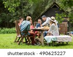 leisure  holidays  eating ... | Shutterstock . vector #490625227
