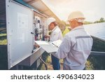 an engineer working on checking ... | Shutterstock . vector #490634023