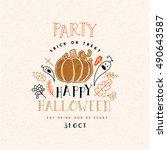 happy halloween poster. vector... | Shutterstock .eps vector #490643587