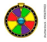 gold fortune wheel illustration.... | Shutterstock .eps vector #490659403