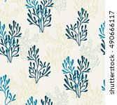 summer seamless pattern with... | Shutterstock .eps vector #490666117