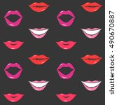 painted lips pattern seamless... | Shutterstock .eps vector #490670887