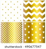 pattern vector gold and white... | Shutterstock .eps vector #490677547