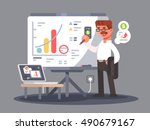 business analyst shows...   Shutterstock .eps vector #490679167