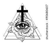 rosicrucianism symbol.... | Shutterstock .eps vector #490680607
