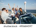 group of cheerful young people... | Shutterstock . vector #490684597