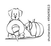 dog holds witch hat pumpkin in... | Shutterstock .eps vector #490690813