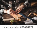 leather handbag craftsman at... | Shutterstock . vector #490690927