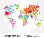 2017 happy new year  world map... | Shutterstock .eps vector #490692673